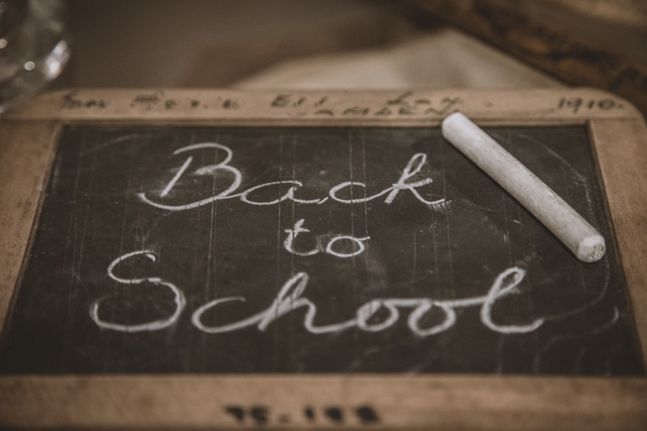 Image of chalkboard with Back to School written on it